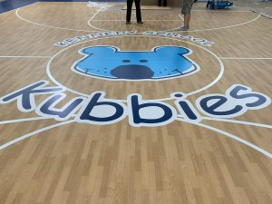 Gym vinyl floor graphics custom installation